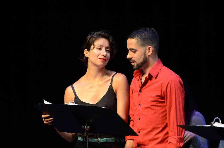 "Monica Lopez and Tommy Rivera-Vega in a reading of Mando Alvarez's ""Parachute Men"" at Carnaval 2015."