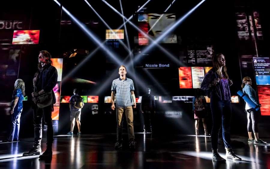 """Ben Platt (center) and the cast of """"Dear Evan Hansen"""" on Broadway. (Photo by Matthew Murphy)"""